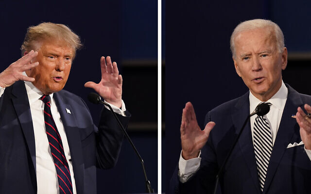 This combination of September 29, 2020, file photos show President Donald Trump, left, and former vice president Joe Biden during the first presidential debate at Case Western University and Cleveland Clinic, in Cleveland, Ohio. (AP Photo/Patrick Semansky, File)