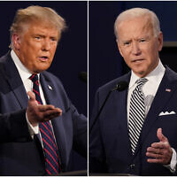 This combination of Sept. 29, 2020, photos shows President Donald Trump, left, and former Vice President Joe Biden during the first presidential debate at Case Western University and Cleveland Clinic, in Cleveland, Ohio. (AP Photo/Patrick Semansky)