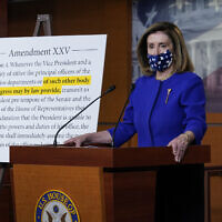 US Speaker of the House Nancy Pelosi, D-Calif., speaks during a news conference at the Capitol in Washington, Friday, Oct. 9, 2020. (AP Photo/J. Scott Applewhite)