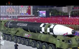 This image made from video broadcasted by North Korea's KRT, shows a military parade with what appears to be possible new intercontinental ballistic missile at the Kim Il Sung Square in Pyongyang, Saturday, Oct. 10, 2020. (KRT via AP)