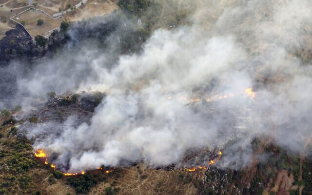 Screen capture from video of the scene of a forest fire in Ras el-Harf village, in the Baabda district, Lebanon, October 9, 2020. (AP)
