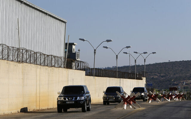 A convoy of the Lebanese delegation arrives to the headquarters of the UN peacekeeping force in the southern Lebanese border town of Naqoura, Lebanon, Wednesday, Oct. 14, 2020. Lebanon and Israel are to begin indirect talks Wednesday over their disputed maritime border, with American officials mediating the talks that both sides insist are purely technical and not a sign of any normalization of ties. (AP Photo/Bilal Hussein)