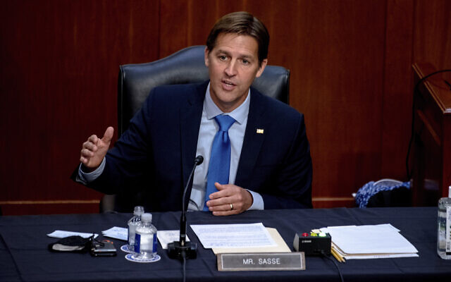 Republican Senator Ben Sasse of Nebraska speaks during the confirmation hearing for Supreme Court nominee Amy Coney Barrett, before the Senate Judiciary Committee on Capitol Hill in Washington, October 14, 2020. (Hilary Swift/The New York Times via AP, Pool, File)
