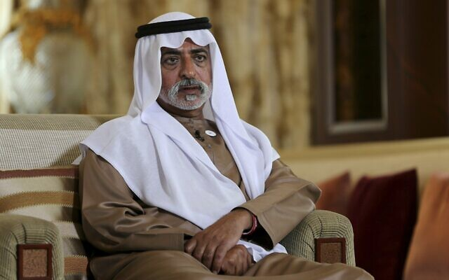 In this Jan. 24, 2019 file photo, Sheikh Nahyan bin Mubarak Al Nahyan, the tolerance minister of the United Arab Emirates, speaks to The Associated Press in Abu Dhabi, United Arab Emirates (AP Photo/Kamran Jebreili, File)