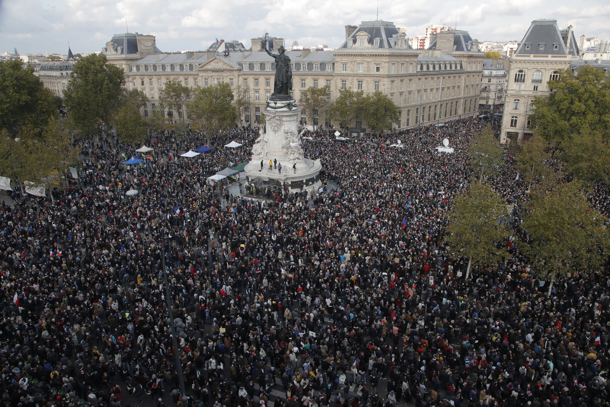 Hundreds of people gather at Republique square during a demonstrati