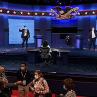 Mock debaters perform onstage as preparations take place for the second US Presidential debate at Belmont University, Wednesday, Oct. 21, 2020, in Nashville, Tenn. (AP Photo/Patrick Semansky)