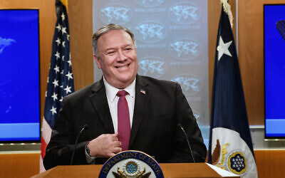 US Secretary of State Mike Pompeo speaks during a news conference at the State Department in Washington, October 21, 2020. (Nicholas Kamm/Pool via AP)