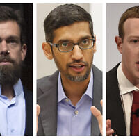 This combination of 2018-2020 photos shows, from left, Twitter CEO Jack Dorsey, Google CEO Sundar Pichai, and Facebook CEO Mark Zuckerberg. Less than a week before Election Day, the CEOs of Twitter, Facebook and Google are set to face a grilling by Republican senators who accuse the tech giants of anti-conservative bias. (AP Photo/Jose Luis Magana, LM Otero, Jens Meyer)