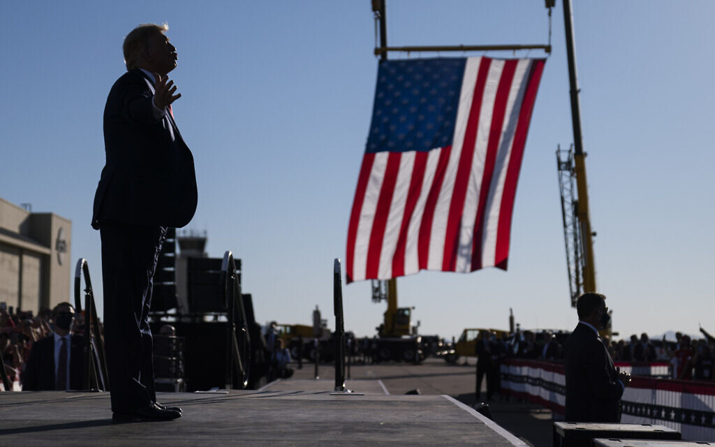 President Donald Trump gestures to supporters after a campaign rally at Phoenix Goodyear Airport, Wednesday, Oct. 28, 2020, in Goodyear, Ariz. (AP/Evan Vucci)
