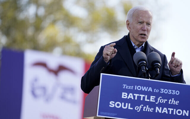 Democratic presidential candidate former Vice President Joe Biden speaks at a rally at the Iowa State Fairgrounds in Des Moines, Iowa, Friday, Oct. 30, 2020. (AP Photo/Andrew Harnik)