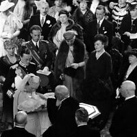 Princess Beatrix, 14-week-old daughter of Princess Juliana and Prince Bernhard, appeared in public for the first time, when she was christened in the Groote Kerk, the Protestant Church on May 12, 1938, in the Hague, Holland, Netherlands. (AP Photo)