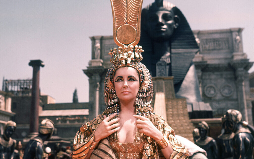 "British actress Elizabeth Taylor on May 8, 1962 during the filming of the famous movie ""Cleopatra"" in Rome's Cinecitta Studio in Italy, which at the time of filming was the most expensive film ever made. (AP Photo)"