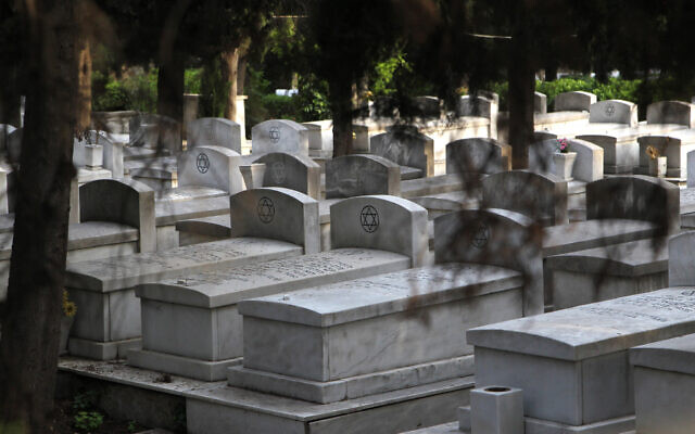 Illustrative: Graves in a cemetery for the Jewish community in the northern Greek city of Thessaloniki on May 30, 2014. (AP/ Nikolas Giakoumidis/File)