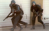 Masked soldiers of the German military special commando forces, 'Kommando Spezialkraefte' (KSK), hold their weapons ready as they move along a wall during an exercise in Baumholder, southwestern Germany, in this Sept. 11, 1997. (Hermann J. Knippertz/AP)