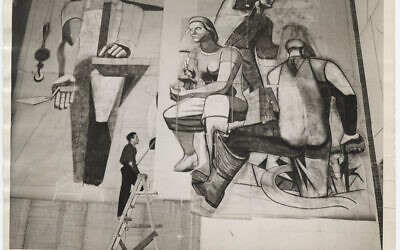 Artist Philip Guston paints as part of the Federal Art Project, February 1939 (David Robbins, photographer, Archives of American Art, public domain, via wikipedia)