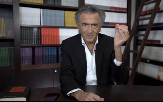 French celebrity philosopher Bernard-Henri Levy addresses the 38th World Zionist Congress, October 20, 2020. (Screenshot)