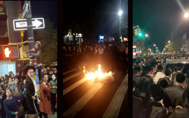 Orthodox residents of Borough Park burned masks and blocked city buses October 6, 2020, to protest Gov. Andrew Cuomo's announcement that he would impose new restrictions on areas with upticks in COVID-19. (Screenshots from WhatsApp via JTA)