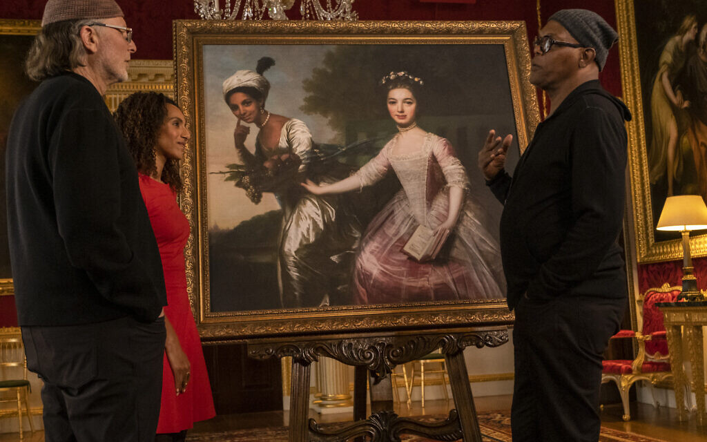Samuel L. Jackson, Afua Hirsch, and Simcha Jacobovici discuss the portrait of Dido Elizabeth Belle. (AP Slave Ships Productions Ltd./Cornelia Street's Ships Ltd.)