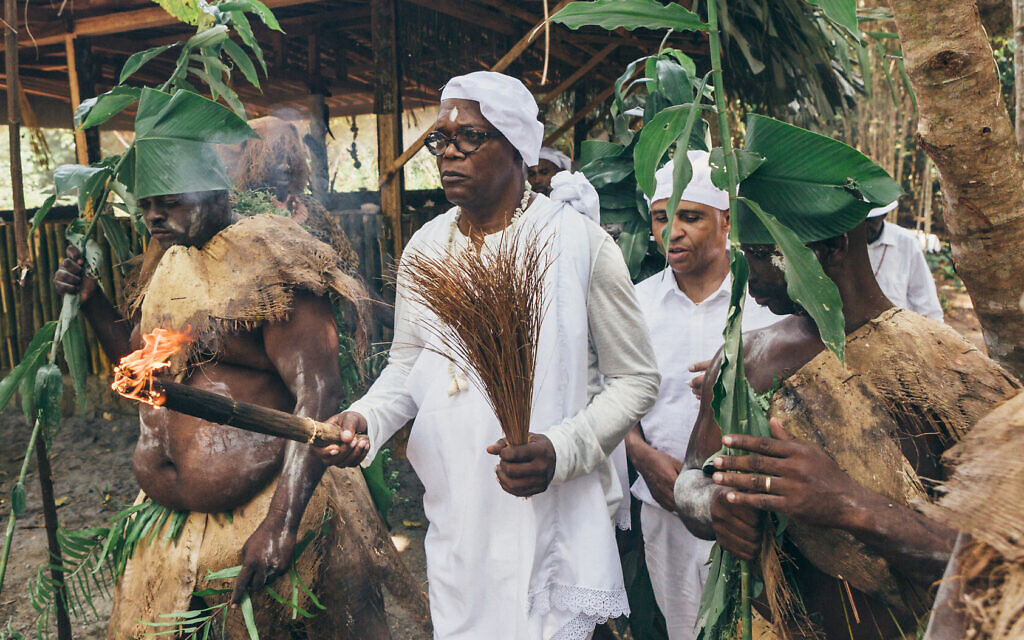Samuel L. Jackson taking part in a Benga initiation ceremony, Gabon. (AP Slave Ships Productions Ltd./Cornelia Street's Ships Ltd.)