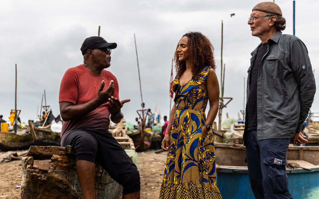 From left, Samuel L. Jackson, Afua Hirsch, and Simcha Jacobovici in a still from 'Enslaved.' (AP Slave Ships Productions Ltd./Cornelia Street's Ships Ltd.)
