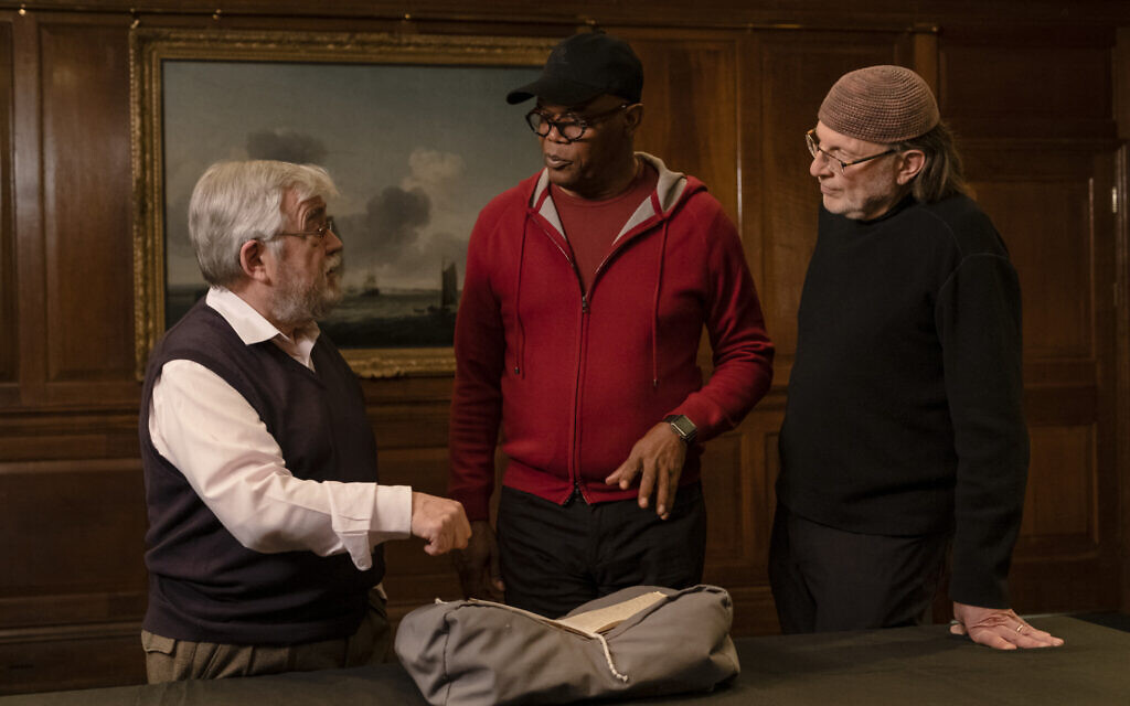 Samuel L. Jackson, center, and Simcha Jacobovici, right, in a still from 'Enslaved.' (AP Slave Ships Productions Ltd./Cornelia Street's Ships Ltd.)