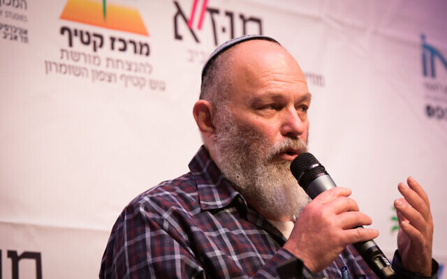 EffieEitam speaks during the Gush Katif conference at the Tel Aviv Museum on March 23, 2017. (Yossi Zeliger/Flash90)