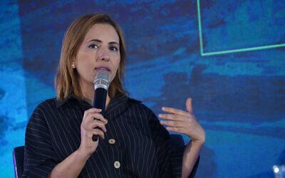 Gila Gamliel speaks at a conference in Kedem, in the West Bank, on September 5, 2019 (Hillel Maeir/Flash90)