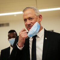 Blue and White leader Benny Gantz after the presentation of the 35th government of Israel at the Knesset, May 17, 2020. (Alex Kolomoisky/POOL)