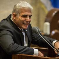 Yesh Atid MK Yair Lapid speaks during a Knesset plenum session on August 24, 2020. (Oren Ben Hakoon/Pool/Flash90)