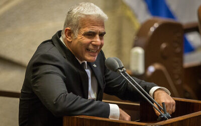 Yesh Atid MK Yair Lapid speaks during a Knesset plenum session on August 24, 2020. (Oren Ben Hakoon/Pool/Flash90)