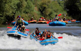 People kayaking in the Jordan river in northern Israel on August 27, 2020. (Yossi Aloni/Flash90)