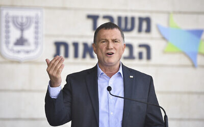 Health Minister Yuli Edelstein speaks during a press conference at Airport City, outside Tel Aviv, on September 17, 2020. (Flash90)