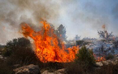 A fire rages near the Kfar HaOranim settlemet in the West Bank, October 9, 2020 (Yossi Aloni/Flash90)