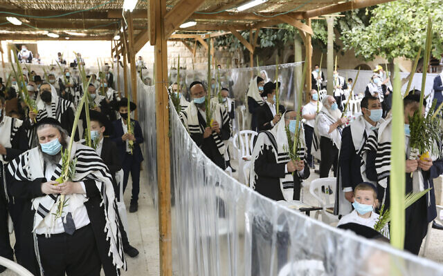 Ultra-Orthodox Jewish men pray in The Hurva Synagogue sukkah on Hoshana Raba, the last day of the Jewish holiday of Sukkot, in the Old City of Jerusalem on October 9, 2020. (Yaakov Lederman/Flash90)