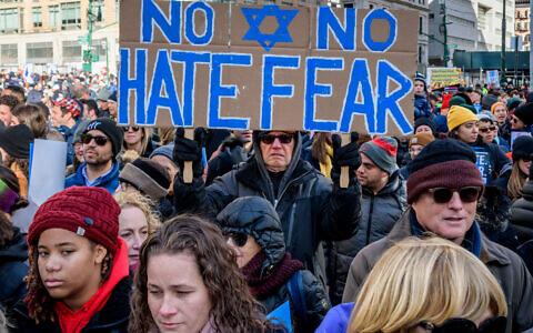 "Thousands of New Yorkers of all backgrounds convened at the ""No Hate. No Fear"" solidarity march against anti-Semitism in January 2020. (Erik McGregor/LightRocket via Getty Images, via JTA)"