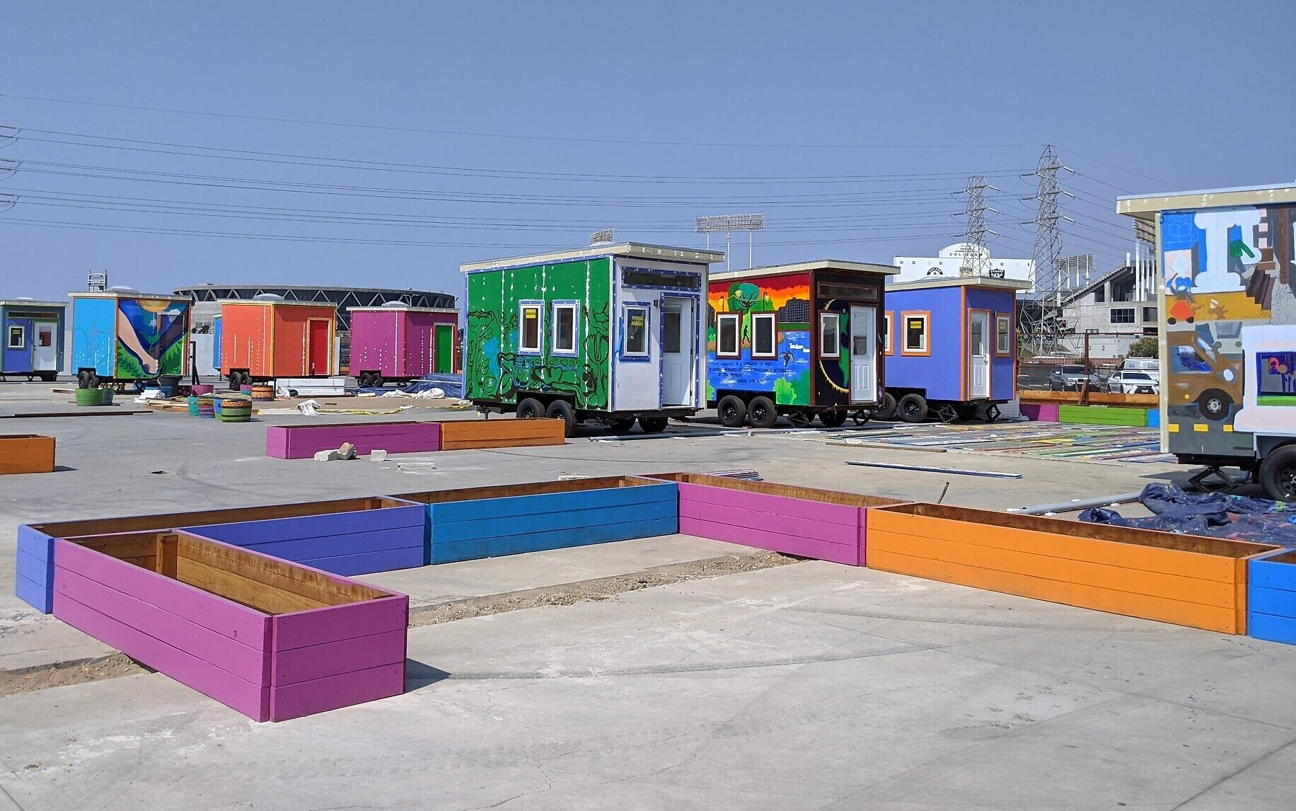 The 26 houses are organized into four quads to create small neighborhoods within the Tiny House Village in Oakland, California, pictured here on September 20, 2020. (courtesy)