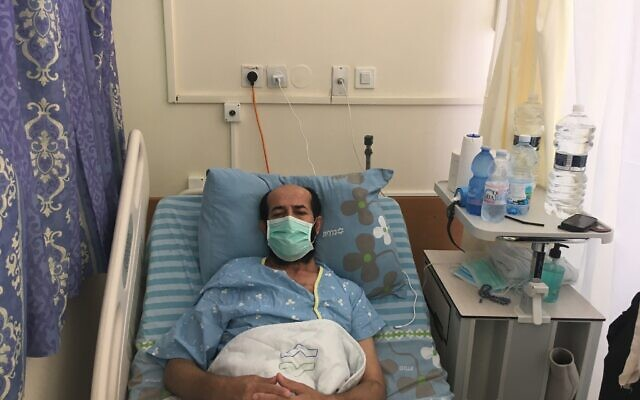 Maher al-Akhras, a 49-year-old security prisoner, while on hunger strike in Kaplan hospital in Rehovot, October 8, 2020 (Aaron Boxerman/Times of Israel)