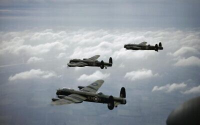 Three Royal Air Force Avro Lancaster bombers in 1942. (Wikipedia/Royal Air Force official photographer/Public Domain)