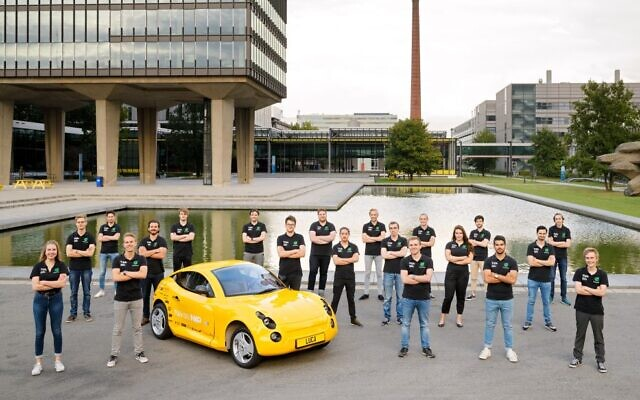 The team of Dutch students with the Luca, a 'zero-waste car' made out of bio-based material developed by Israeli startup UBQ Materials, October 8, 2020 (Bart van Overbeeke)