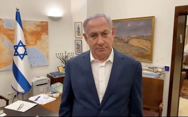 Screen capture from a video of Prime Minister Benjamin Netanyahu during a live Facebook broadcast about the coronavirus outbreak and the national lockdown, October 1, 2020. (Facebook)