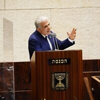 Opposition Leader Yair Lapid speaking in the Knesset plenum, October 12, 2020. (Yaniv Nadav/Knesset spokesperson's office)