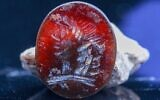 2,000-year-old seal with the image of Apollo discovered in the City of David near Jerusalem's Western Wall. (Eliyahu Yanai/City of David)
