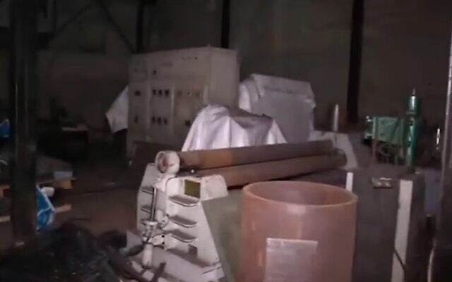 A roller machine in an alleged Hezbollah missile facility in Beirut's al-Janah neighborhood that the Israeli military says is used in the production of missiles on October 2, 2020. (Israel Defense Forces)