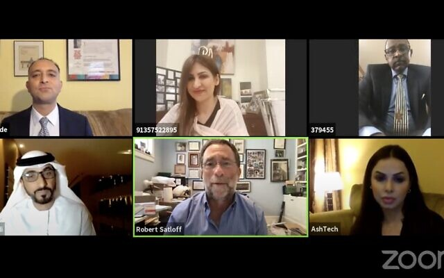 A screen capture from a webinar hosted by the Washington Institute for Near East Policy on October 2, 2020. (Screen capture: YouTube)