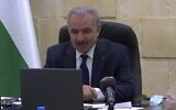 Palestinian Authority Prime Minister speaks with European lawmakers by video link on October 12, 2020. (Screen capture: Facebook)