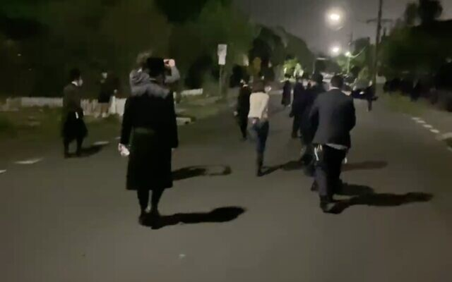 A group of ultra-Orthodox Jews is seen in Melbourne, Australia, on October 10, 2020. (Screen capture: Twitter)