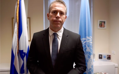 Israeli UN Ambassador Gilad Erdan in his New York office on October 13, 2020. (Israeli Mission to the UN)