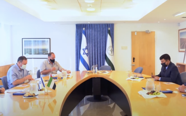 UAE members of an unofficial agricultural delegation meet with Israelis to discuss advancing economic cooperation between the two countries (Screenshot: WAM)