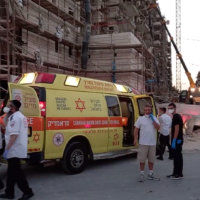 A construction site in Beit Shemesh where five workers were injured after scaffolding collapsed on October 21, 2020. (Screen capture/Magen David Adom)