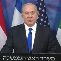 Prime Minister Benjamin Netanyahu announces Israel-Sudan peace in a Hebrew video, October 23, 2020 (Screen capture/Youtube)
